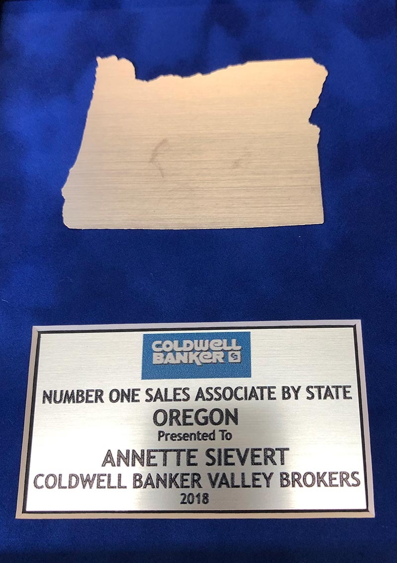 Number One Sales Associate by State, Awarded to Annette Sievert, Coldwell Banker Valley Brokers